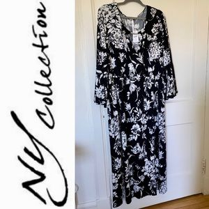 Floral Black and White Maxi with Bell Sleeves